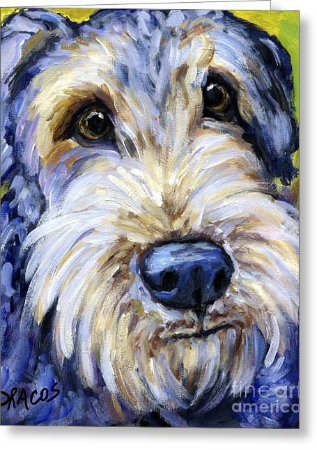 Airedale Terrier Greeting Cards - Airedale Terrier Cutie Portrait Greeting Card by Dottie Dracos