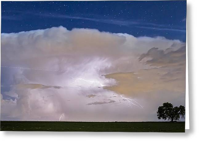 Jet Star Greeting Cards - Airliner Lightning Strikes Greeting Card by James BO  Insogna
