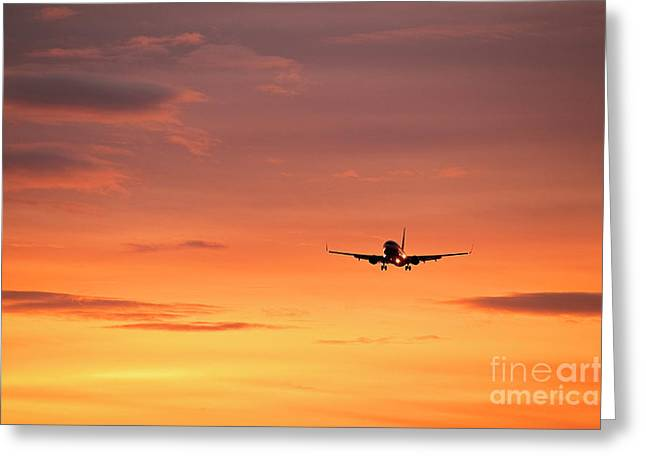Jet Greeting Cards - Airlpane in flight Greeting Card by John Greim