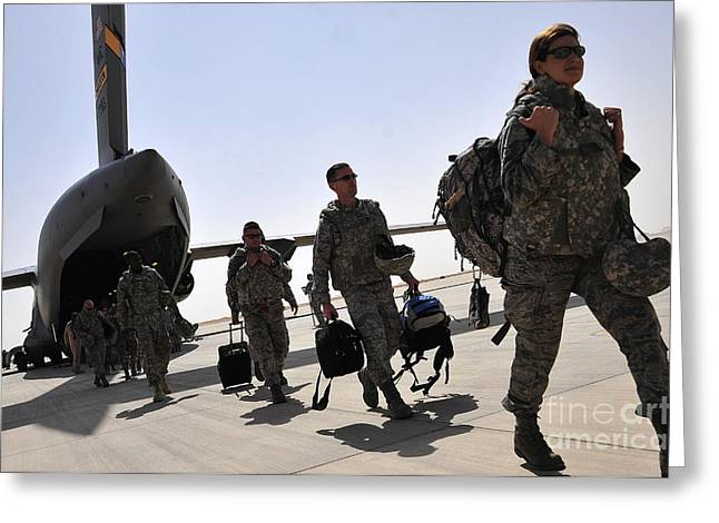 Airbase Greeting Cards - Airmen Arrive In Iraq In Support Greeting Card by Stocktrek Images