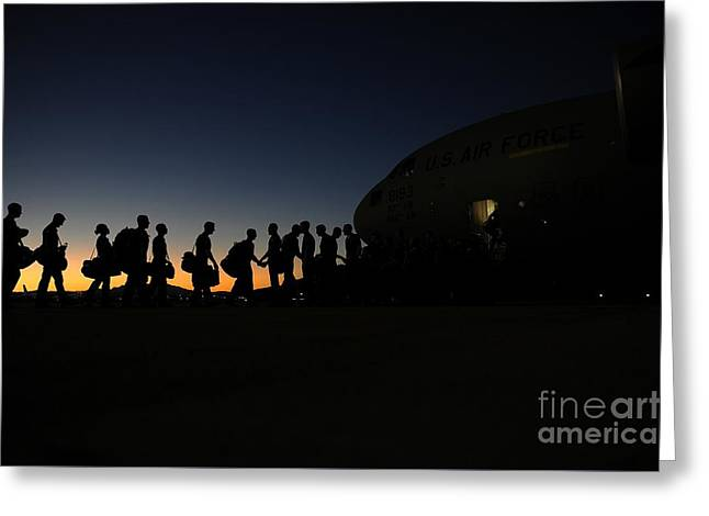 Airmen Boarding Greeting Card by Celestial Images