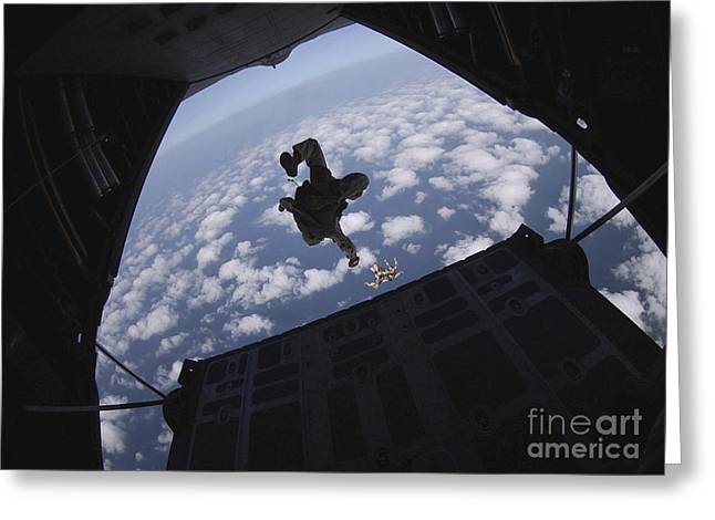 Airmen Jump Out Of An Hc-130 Hercules Greeting Card by Stocktrek Images