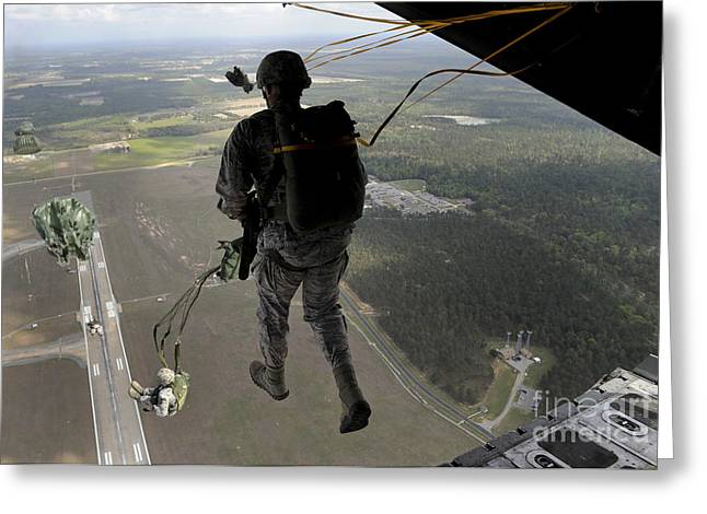 Drop Zone Greeting Cards - Airmen Jump Out Of An Hc-130pn Combat Greeting Card by Stocktrek Images