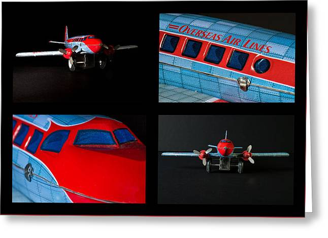 Tin Planes Greeting Cards - Airplane Collage Greeting Card by Rudy Umans