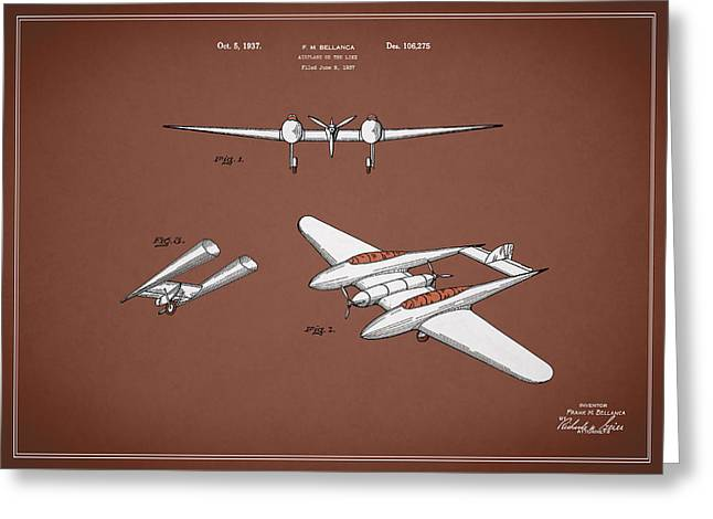 Airplane Greeting Cards - Airplane Patent 1937 Greeting Card by Mark Rogan