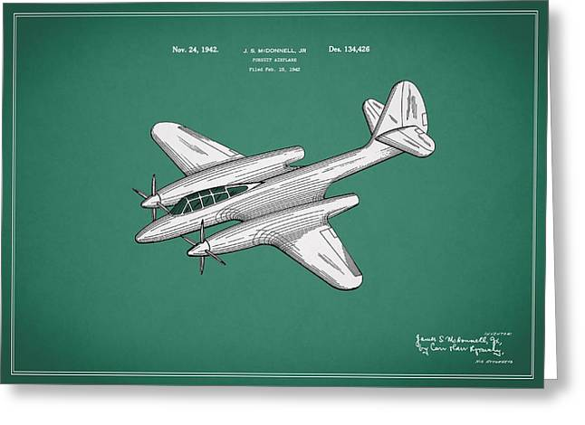 Airplane Greeting Cards - Airplane Patent 1942 Greeting Card by Mark Rogan