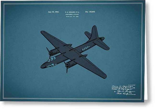 Airplane Patent 1943 Greeting Card by Mark Rogan