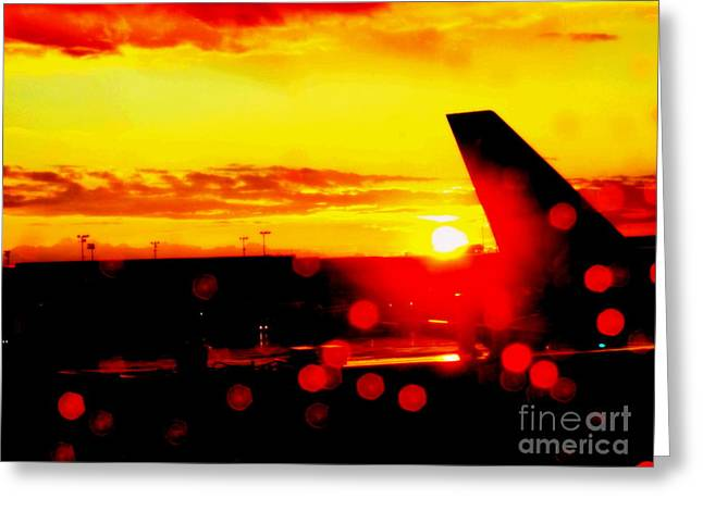 Raining Greeting Cards - Airport In The Rain Greeting Card by Kumiko Mayer