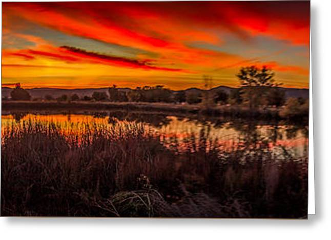 Layer Greeting Cards - Airport Pond Sunrise Greeting Card by Robert Bales