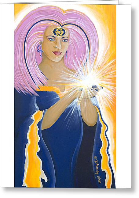 Indigo Chakra Greeting Cards - Ajna Third Chakra Goddess Greeting Card by Divinity MonSun Chan