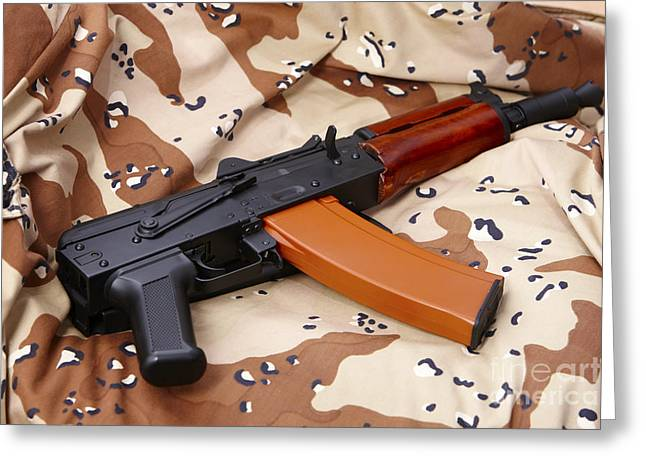 Ak47 Greeting Cards - Ak-47u On Old Persian Gulf War Desert Battle Dress Uniform Greeting Card by Joe Fox