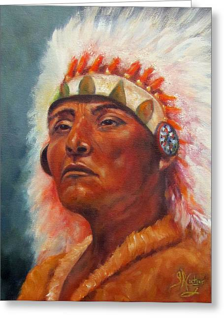 Expressive Native American Indian Greeting Cards - Akecheta Greeting Card by Sandra Cutrer