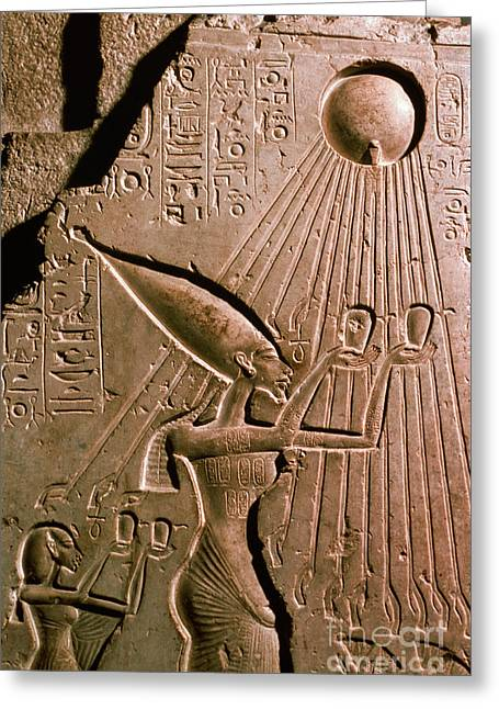 Pharaoh Photographs Greeting Cards - Akhenaton With Sun God Greeting Card by Science Source