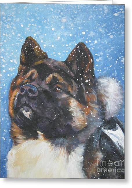 Xmas Dog Greeting Cards - Akita in snow Greeting Card by L A Shepard