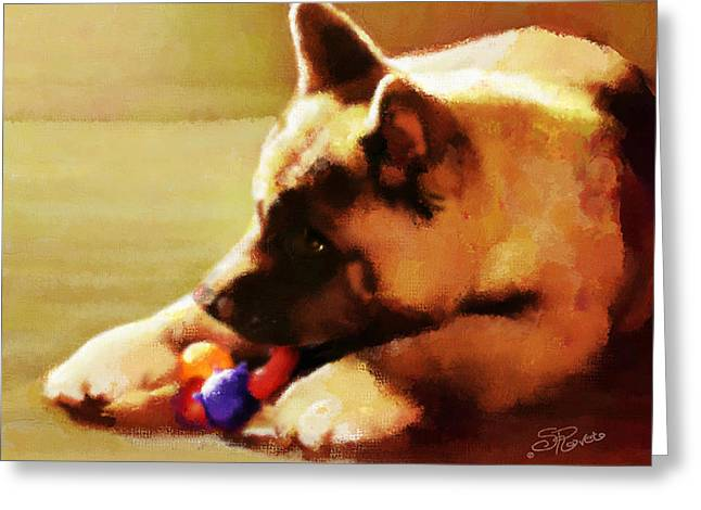 Toy Dogs Paintings Greeting Cards - Akita Puppy Greeting Card by Suni Roveto