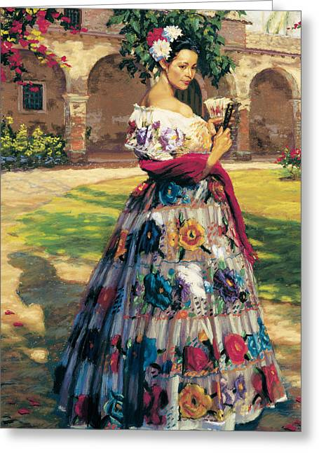 Embroidered Dress Greeting Cards - Al Aire Libre Greeting Card by Jean Hildebrant