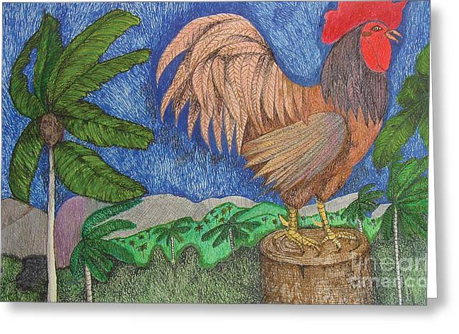 Indian Ink Mixed Media Greeting Cards - Al Cantio del Gallo The Sing Song of the Rooster from the Charivary Series Greeting Card by Chary Castro-Marin