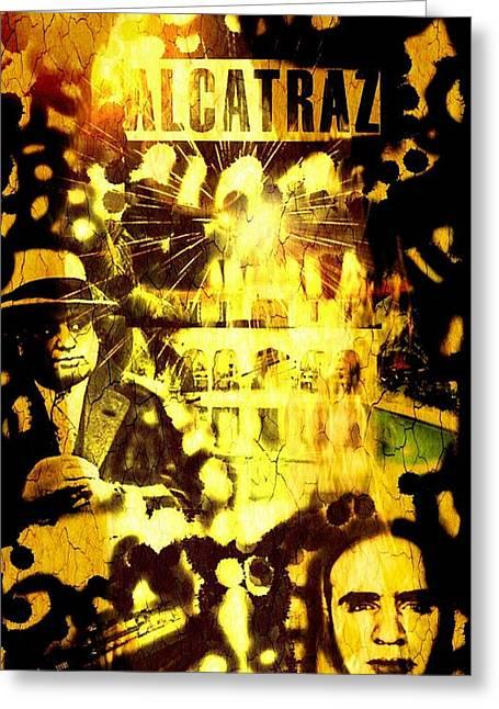 Tommy Gun Greeting Cards - Al Capone Alcatraz  Greeting Card by Pat Carafa