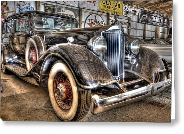 Slam Greeting Cards - Al Capones Packard Greeting Card by Nicholas  Grunas
