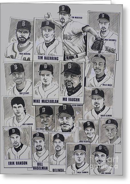 Mbl Greeting Cards - AL East Champions Red Sox newspaper poster Greeting Card by Dave Olsen