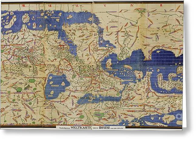 German Map Greeting Cards - Al Idrisi World Map 1154 Greeting Card by SPL and Photo Researchers
