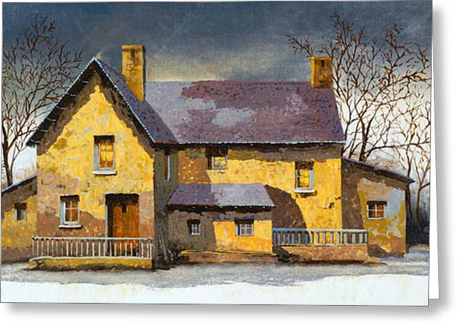 Houses Greeting Cards - Al Mattino Greeting Card by Guido Borelli