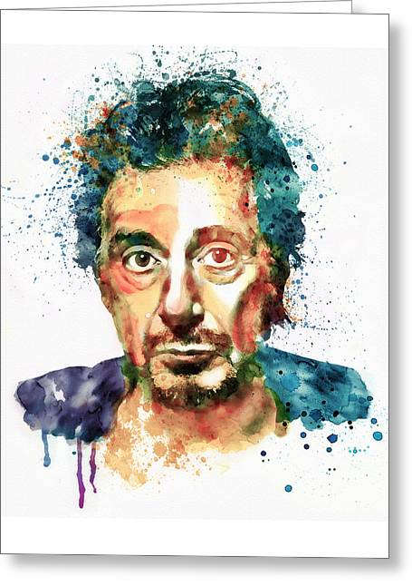 Famous Faces Greeting Cards - Al Pacino Watercolor portrait Greeting Card by Marian Voicu