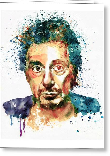 Italian Cinema Greeting Cards - Al Pacino Watercolor portrait Greeting Card by Marian Voicu
