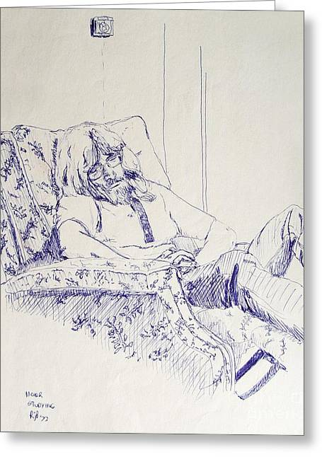 Ball Point Pen Greeting Cards - Al-Studying Greeting Card by Ron Bissett