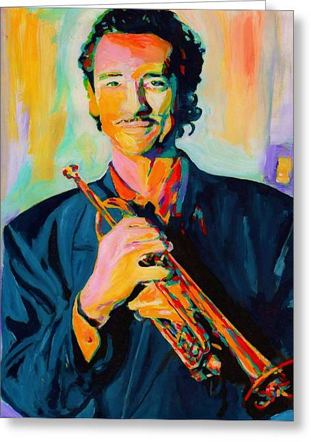 Big Band Greeting Cards - Al Vizzitti Greeting Card by Vel Verrept
