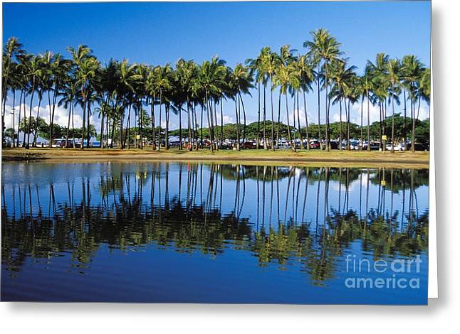 Ala Moana Greeting Cards - Ala Moana Beach Park Greeting Card by Mary Van de Ven - Printscapes