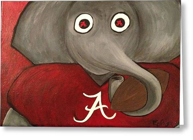 Roll Tide Paintings Greeting Cards - Alabama Greeting Card by Christy Rae Emfinger
