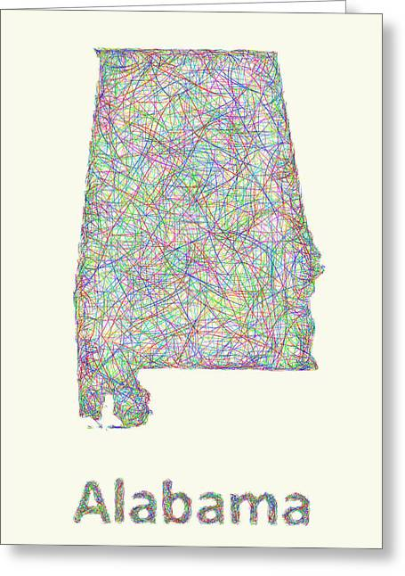 Alabama Drawings Greeting Cards - Alabama line art map Greeting Card by David Zydd