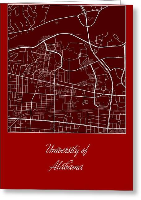 University Of Alabama Greeting Cards - Alabama Street Map - University of Alabama Tuscaloosa Map Greeting Card by Jurq Studio