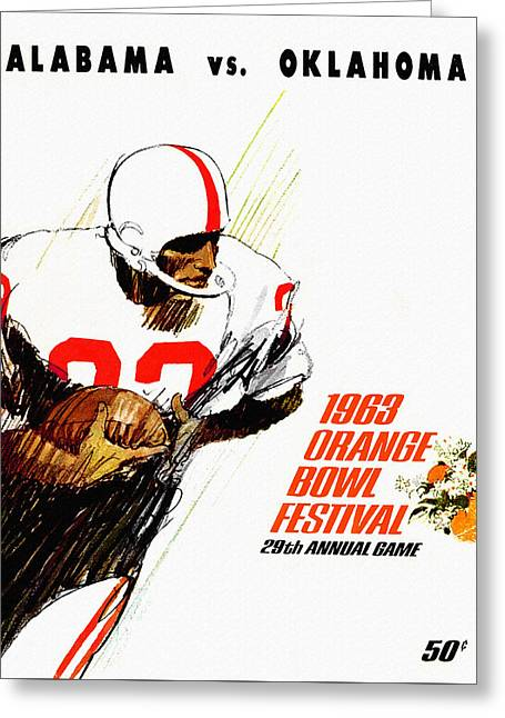 Sec Paintings Greeting Cards - Alabama Versus Oklahoma 63 Orange Bowl Greeting Card by John Farr