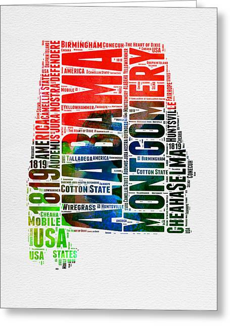 Alabama Greeting Cards - Alabama Watercolor Word Cloud  Greeting Card by Naxart Studio