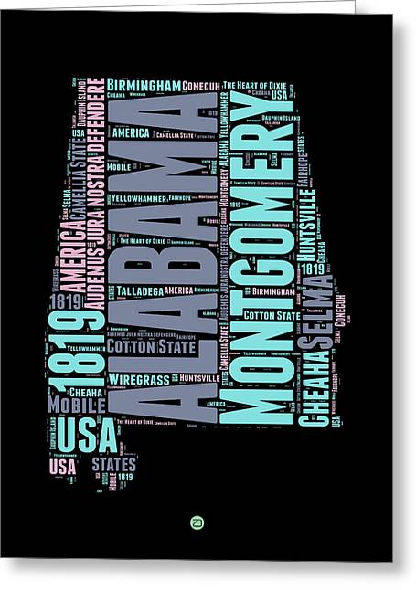 Alabama Greeting Cards - Alabama Word Cloud 1 Greeting Card by Naxart Studio