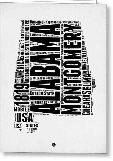 Alabama Greeting Cards - Alabama Word Cloud 2 Greeting Card by Naxart Studio