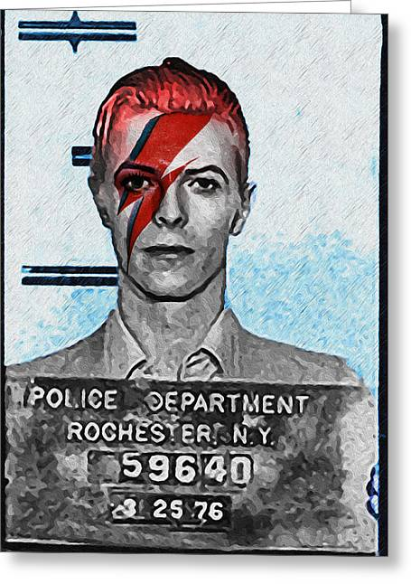 Aladdin Sane Mugshot - David Bowie Greeting Card by Bill Cannon