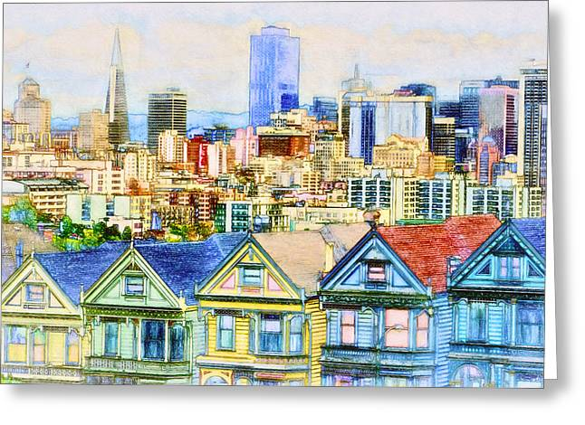 Downtown San Francisco Greeting Cards - Alamo Square Greeting Card by John K Woodruff