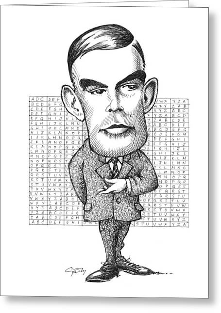 Surname T Greeting Cards - Alan Turing, British Mathematician Greeting Card by Gary Brown