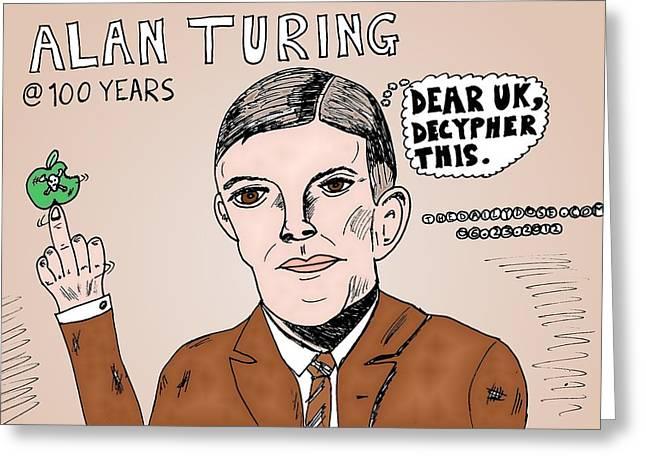Editorial Drawings Greeting Cards - Alan Turing Caricature Greeting Card by Yasha Harari