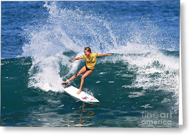 Best Sellers -  - Surfer Art Greeting Cards - Alana Blanchard Surfing Hawaii Greeting Card by Paul Topp