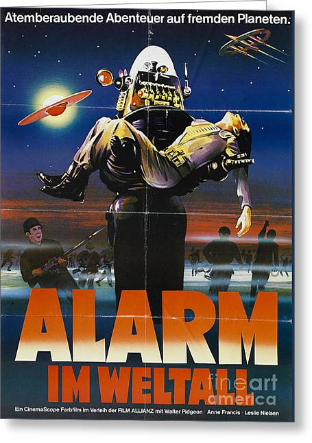Alarm Im Weltall German Forbidden Planet Movie Poster Greeting Card by R Muirhead Art