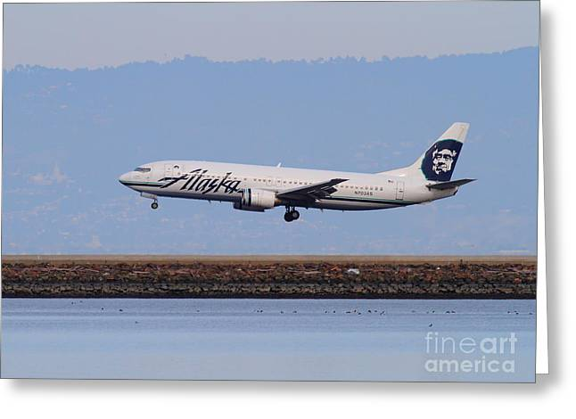 Landing Airplane Greeting Cards - Alaska Airlines Jet Airplane At San Francisco International Airport SFO . 7D12232 Greeting Card by Wingsdomain Art and Photography