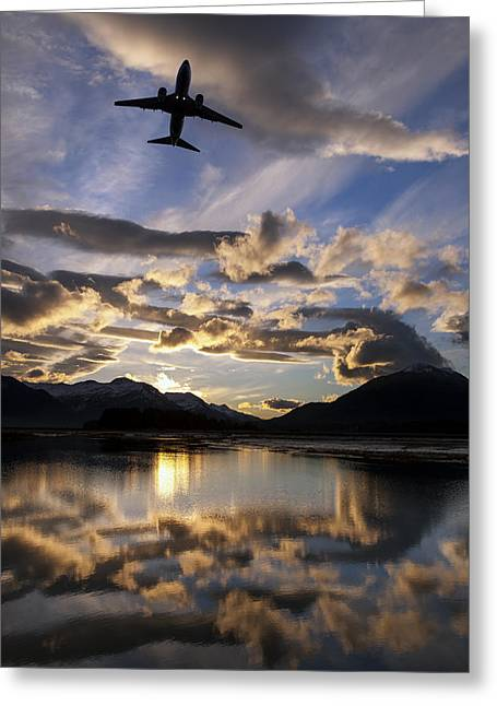 Mid Summer Morning Greeting Cards - Alaska Airlines Jet Takes Greeting Card by John Hyde