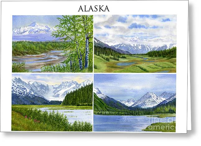 Alaska Landscape Poster Collage 3 With Heading Greeting Card by Sharon Freeman