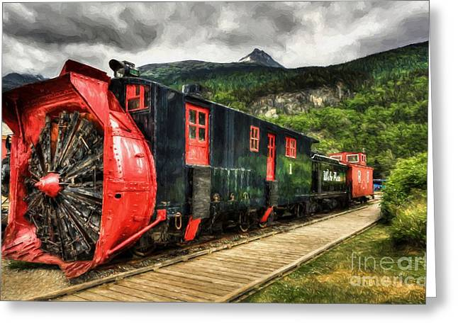 Alaska Snow Train Greeting Card by Mel Steinhauer