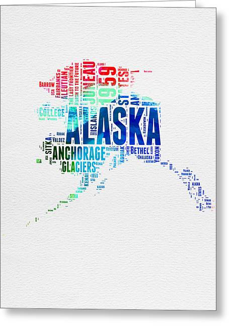 4th July Greeting Cards - Alaska Watercolor Word Cloud  Greeting Card by Naxart Studio