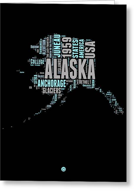 4th July Greeting Cards - Alaska Word Cloud 1 Greeting Card by Naxart Studio